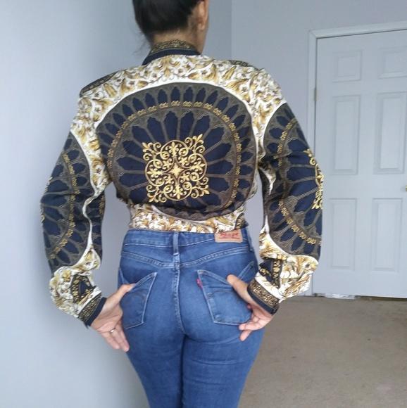 b1494d77f3 Vintage baroque Talbots silk button up. M 5b68a9720cb5aa2d30633643